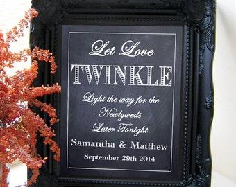 "Instant Download- Let Love Twinkle, Chalkboard Couple's Send Off Wedding Sign, DIY Printable Jpeg PDF 8"" x 10"""