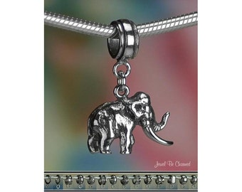 Sterling Silver Woolly Mammoth Charm or European Style Charm Bracelet