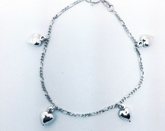 Sterling Silver Puffed Hearts Charm Bracelet