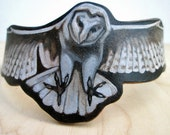 """Custom Order for Kim, Hand Painted Leather Owl Cuff, Size 6 1/4"""", Owl Cuff, Women's Leather Cuff"""