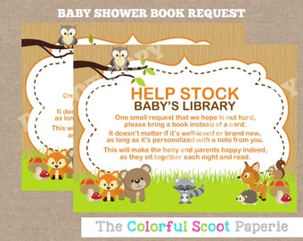 INSTANT DOWNLOAD, Woodland Bring a Book Cards, Woodland Bring a Book insert , Woodland Request a Book, inserts (#579)