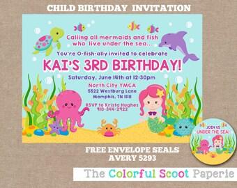 Under The Sea  Invitation,  Girl,  Under the Sea Birthday, Pink, Purple, Girl Sea Animals, Girl Under the Sea Party  (#337)