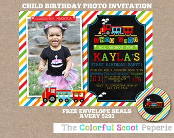 Train Birthday Invitation, Choo Choo Tarin Birthday Party, Choo Choo Train Invitation, Train, Photo Invite, Locomotive Birthday Party (#617)