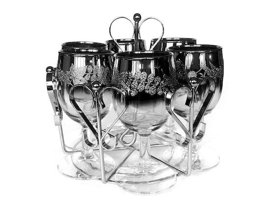 Silver Ombre Wine Glasses, Chrome Caddy, Mid Century Barware, 1960s