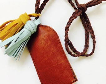 Whiskey Leather Key Pouch (tassels not included)