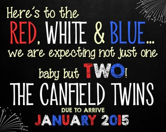 July 4th Chalkboard Pregnancy Announcement Photo Prop for TWINS | Size: 11x14 | *Digital File* | by MMasonDesigns