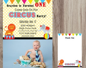 Circus Birthday Party Invitation w/ Picture DIY Printable