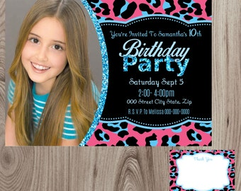 Pink Glitter Cheetah Birthday Invitation With Picture DIY Printable