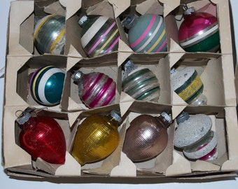 Vintage Shiny Brite Christmas Glass Ball Ornaments Box Set Striped Lantern Frosted