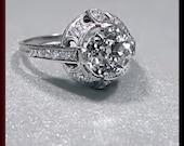 Antique Vintage Platinum Art Deco Old European Cut Diamond Wedding Engagement Ring
