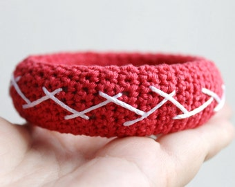 Hand Knitted Bangle Bracelet, Red and White Bracelet, Cuff Bracelet. Cotton bracelet