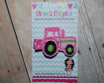 Pink Tractor Hair Clip - Pink and Green Tractor Clip - Birthday Tractor Party for Girls - Girl Tractor Theme Party - Pink Tractor Birthday