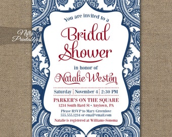 Navy Blue Bridal Shower Invitations - Printable Red White Blue Bridal Shower Invites - Navy Blue and White Damask Bridal Invitation BDM