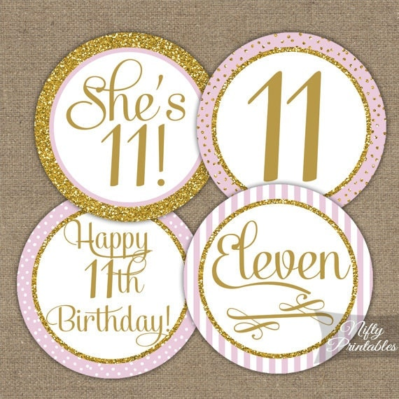 11th Birthday Cupcake Toppers Eleventh Birthday Party Pink