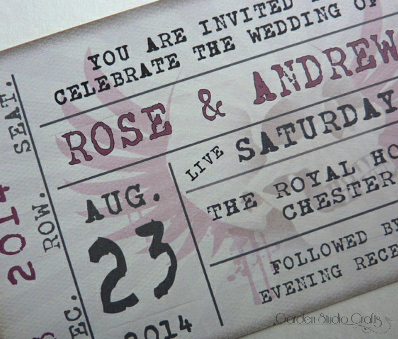 Ticket Style Wedding Invitation Retro Wedding Invitation