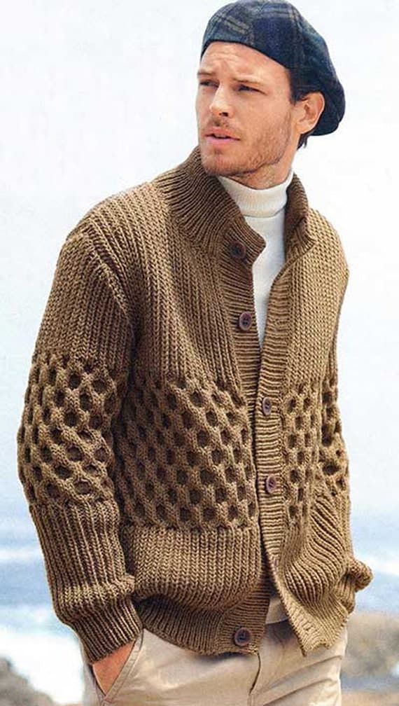 Hand Knitting Designs Sweaters For Men : Made to order men hand knitted cardigan turtleneck sweater
