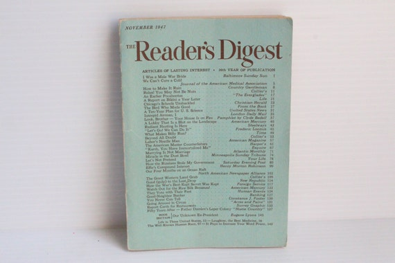READER'S DIGEST November 1947 Vintage Magazine Vintage