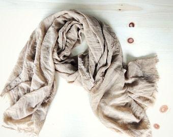 Taupe Honey Hemp organic wrap cloth, bridal shawl, gift for her, sheer organic scarf, pastel hemp wrap, organic wrap READY TO SHIP