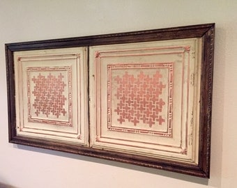 Vintage ceiling tile wall hanging art panel, authentic ceiling tins
