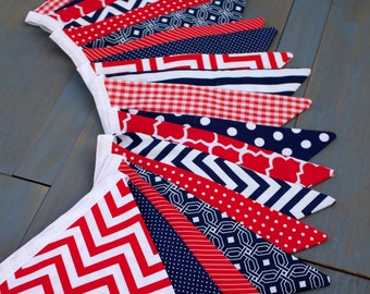July 4th Memorial Day Patriotic or Baseball Party Decorations Fabric Pennant Bunting Banner Red Navy BBQ, Graduation, Military Photo Prop