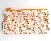 Fox Pencil Case, Back to School, Fox Gift, Fox Fabric, Boho Pencil Case, Zipper Pouch.