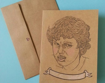 Freaks and Geeks/ Sam Weir/ Sam Wier Face/ Illustrated/ Custom Message/Greeting Card