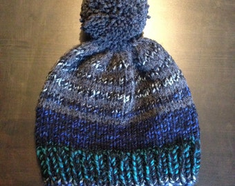 Chunky Knit Charcoal Grey and Mixed Blue Striped Pom-Pom Bobble Hat Autumn Winter Fall