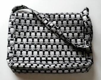 Skull Messenger Bag, Skull Tote Bag, Messenger Bag, Book Bag, Skull Bag, Black and Silver  Tote Bag, Skulls Purse, Cross Body Bag