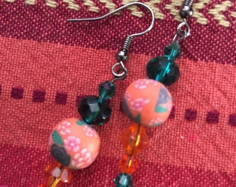 Orange and green earrings