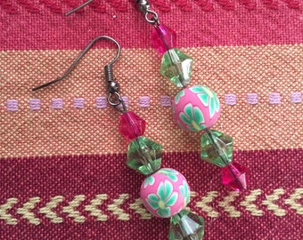 Green and pink earrings