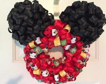 Handmade Mickey Mouse Ribbon Wreath
