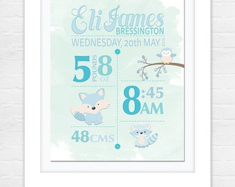 Birth Announcement Print - Baby Birth Details - Baby Name Art - Nursery wall art - Wall art - Blue Birth Print - Printable Digital File!