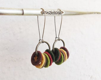 Colorful Crochet Earrings, Earth Tones Jewelry, Handmade Crocheted Jewelry,Textile Earrings, Long Fiber Earrings, Fiber Jewelry, Brass