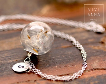 925 Silver dandelion chain (with wish letter) Real Dandelion Seeds in glass  engraving K273