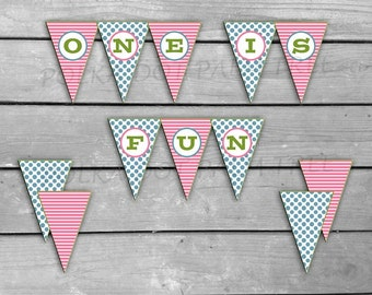 INSTANT DOWNLOAD DIY Printable Banner One Is Fun Girls First Birthday Banner Polka Dots Stripes 1st Birthday Pennant Flag Banner