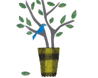 LIME VASE, blue bird. Printed card from an original collage.A single blue bird sitting on leafy twigs in a green vase . Very simple and fun.
