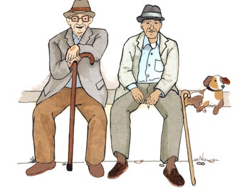 2 AMIGOS. Two older gents sitting with a dog , passing the time watching the world go by. Printed card from collage original.
