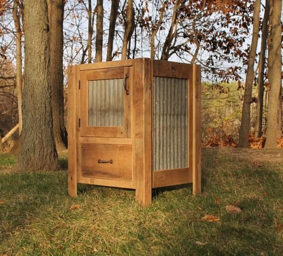2 rustic vanities 24 reclaimed barn wood w tin for 24 reclaimed wood vanity
