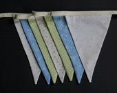 Green, Blue and White Fabric Bunting Banner (7 Flags)