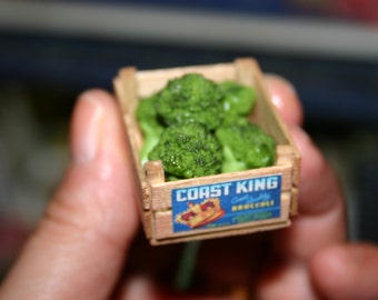 Dollhouse miniature broccoli in a crate for market stall or dollhouse kitchen 1:12 scale
