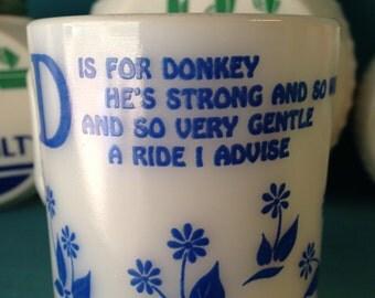 """Hazel Atlas """"D"""" is for Donkey Children's Mug"""