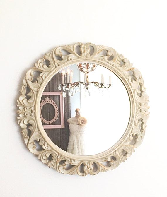 Antique white baroque mirror shabby chic mirror by for Baroque bathroom mirror