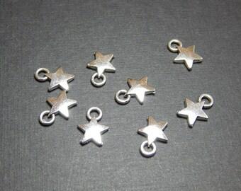 8 Star Charms 9mm, Star Charm, Star Charms, Small Star Charms,Antique Silver Star Charms, Retro Charms, Star Pendants, American Charms A-31B