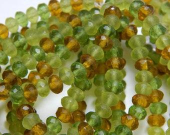 5x3mm Green Matte Mix  Czech Beads, Green Beads, Earthy Beads, Matte Beads, Rondelle Beads, Jewelry Supplies, Beaded Jewelry T-090C