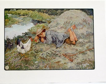 Frederick Richardson Little Tuppens Color Children's Print from 1923 Original Nursery Rhymes/Stories Book Page Color Lithograph #3