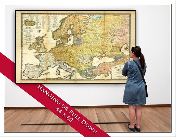 Vintage pull down map europe map on canvas 1845 60w x like this item gumiabroncs Images
