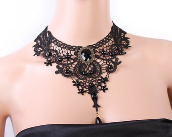 Black Lace Bib Choker Necklace, Bib Necklace