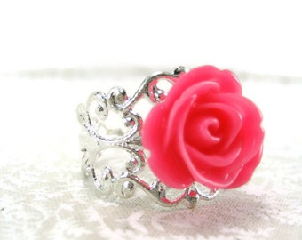 Pink Rose Ring Adjustable Ring Filigree Statement Ring  Resin Rose Ring Pink Flower Ring Cosplay Jewelry Gift Under 20
