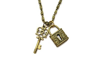 Lock and Key Necklace  Lock and Key Jewelry Romantic Skeleton Key Necklace Everyday Jewlery Bridesmaids Gift Lock Necklace Choose Your Chain