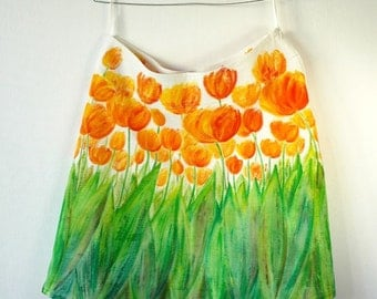 Hand-painted 100% linen skirt with tulips size 40